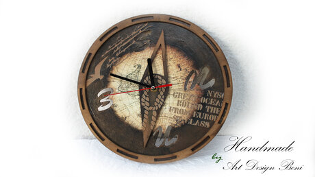 Art wooden wall clock Gift for man, woman. A gift for the family.